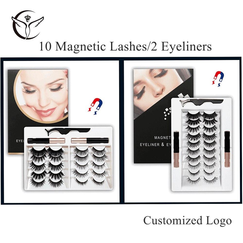 1/5/10 Pairs Magnetic Eyelashes and Eyeliner Set,No Glue Waterproof Magnetic Lashes Eyeliner Magnetic Kit,Faux Cils Magnetique