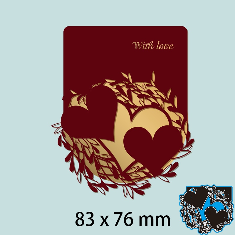 Floral Pattern Around the Heart for Laser Cutting Dies DIY Scrap Booking Photo Album Embossing Paper Cards