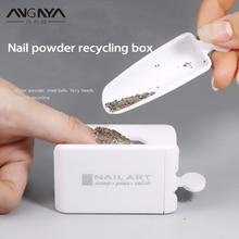 ANGNYA Portable Dipping Powder Recycling Tray White Nail Glitter Magic Mirror Powder Sequin Rhinestone Recycling Box Manicure