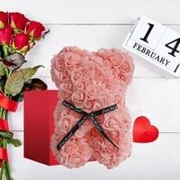teddy bear rose bear box flower bear gifts for women rose bear box flower bear valentines day gift rose bear ring necklace set