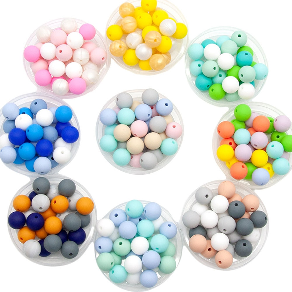 Cute-idea 9/12/15/19mm 50PCs/lot Silicone Beads Teether Pacifier Chain Accessories Handmade Baby Pro