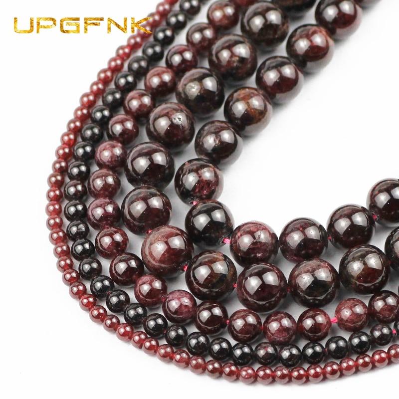 """UPGFNK piedras granates naturales perlas ronda suelta perlas separadores para la fabricación de joyas pulsera DIY accesorios para 4/6/8/10MM 15 """"strand"""