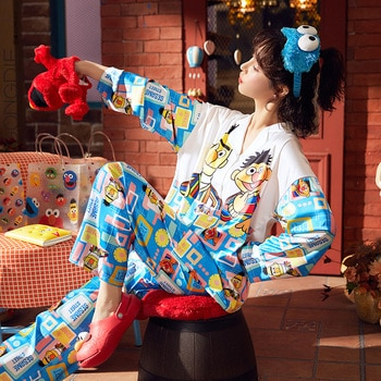 Sesame Street Joint Pajamas Women's Spring and Autumn Can Wear Silk Long Sleeve Cardigan Suit Cute Thin Ice Silk Home Wear