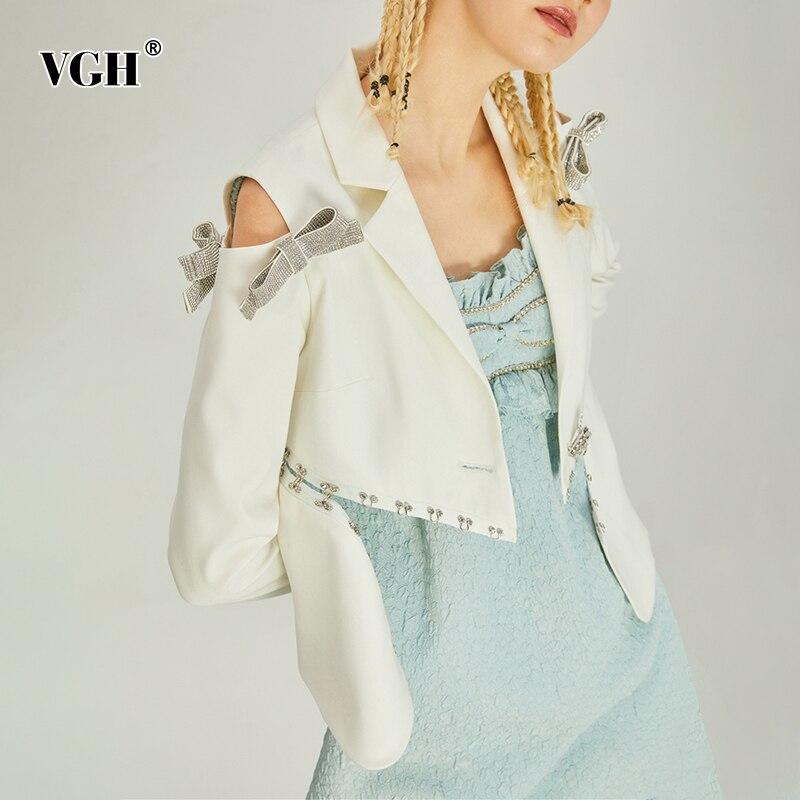 VGH الأبيض المرقعة Bowknot الإناث بليزرات محززة طويلة الأكمام الكورية قصيرة موضة الباردة الكتف سترة نسائية خريف 2021 جديد
