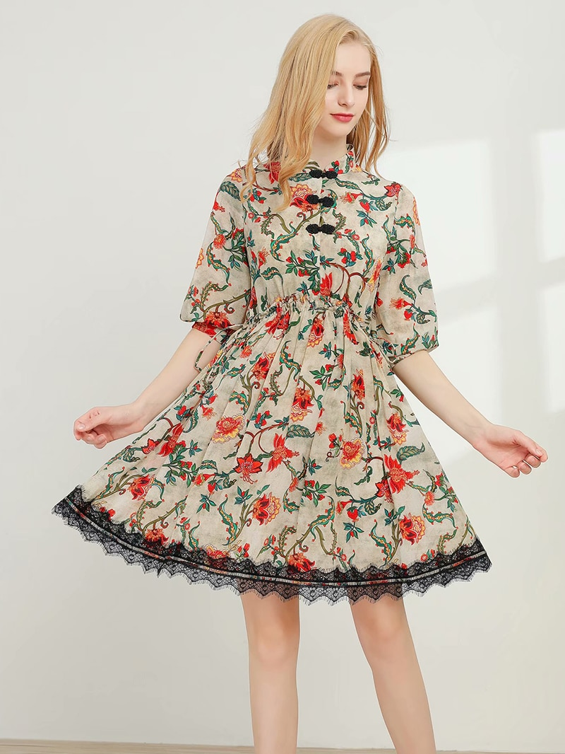 Fashion Elegant Women's Summer Printing Dress 100% Silk High Quality Materials Casual Dresses Panelled