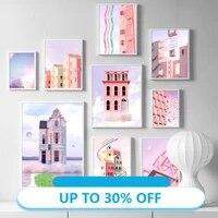 Affiches de peinture sur toile  Architecture coloree surrealiste  nuage de ciel  tableau dart mural pour decoration de salon  decoration de maison