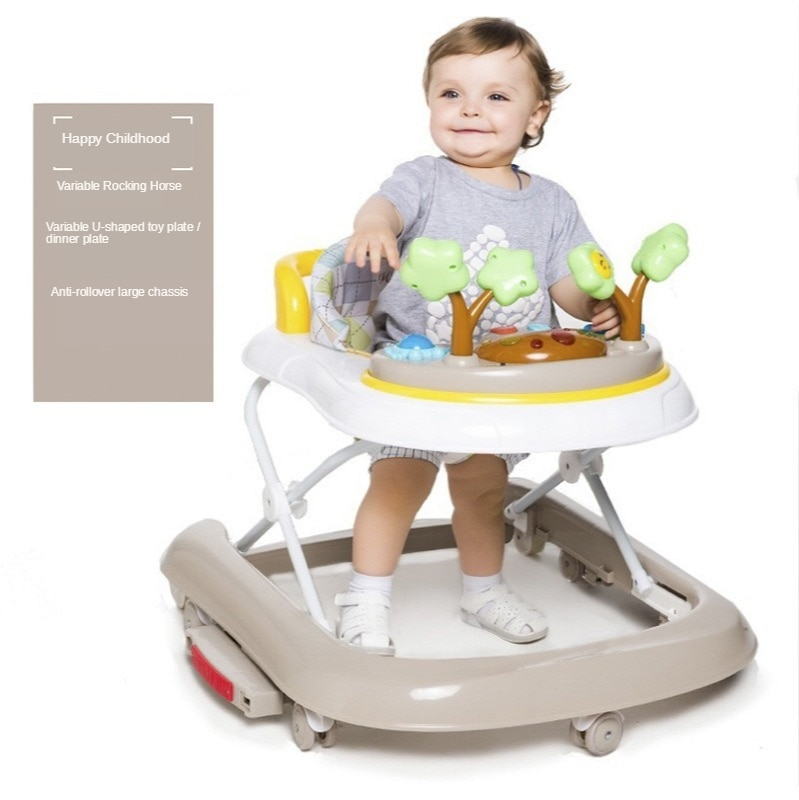 wholesale baby walker with 8 wheels anti runover multi function skating car with music toys learning walkers walking assistant Baby Walker 6-24 Months Baby Anti-rollover Multi-function Children U-shaped Driving Folding with Music Without Battery