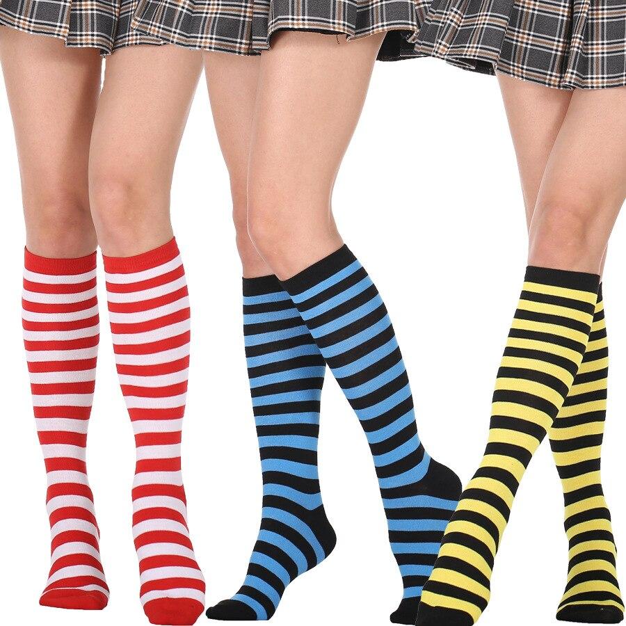 Calcetines largos hasta el muslo de algodón para mujer, medias hasta la rodilla, sexys, de alta calidad, a rayas del Arcoíris, Kawaii