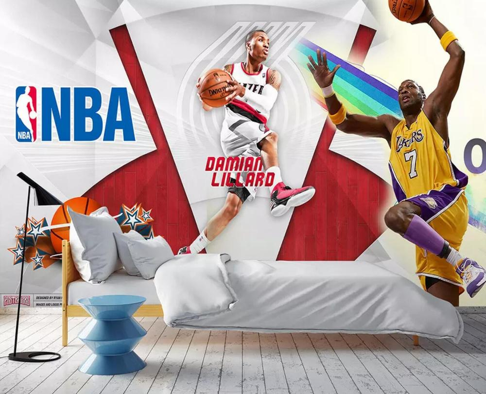 [Autoadhesivo] murales de pared de papel mural de pared 3D NBA 666666946