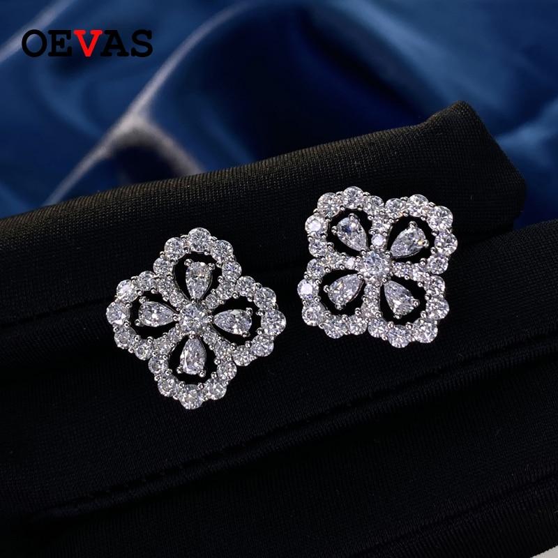 OEVAS-أقراط من الفضة الإسترليني عيار 100% بأربع أوراق برسيم ، مجوهرات راقية ، ألماس عالي الكربون ، 925