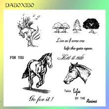DABOXIBO-timbres cheval courant pour bricolage   Scrapbooking/fabrication de cartes/Album Photo, décoration en Silicone 13x13