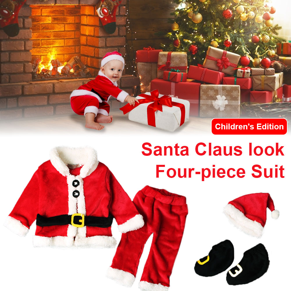 New Infant Baby Santa Claus Style Christmas Long-sleeved Tops+pants+hat+socks Outfit Set Costume Four-piece Clothes Suit newest christmas costume santa claus costume suit adult couple performance costume set outfit