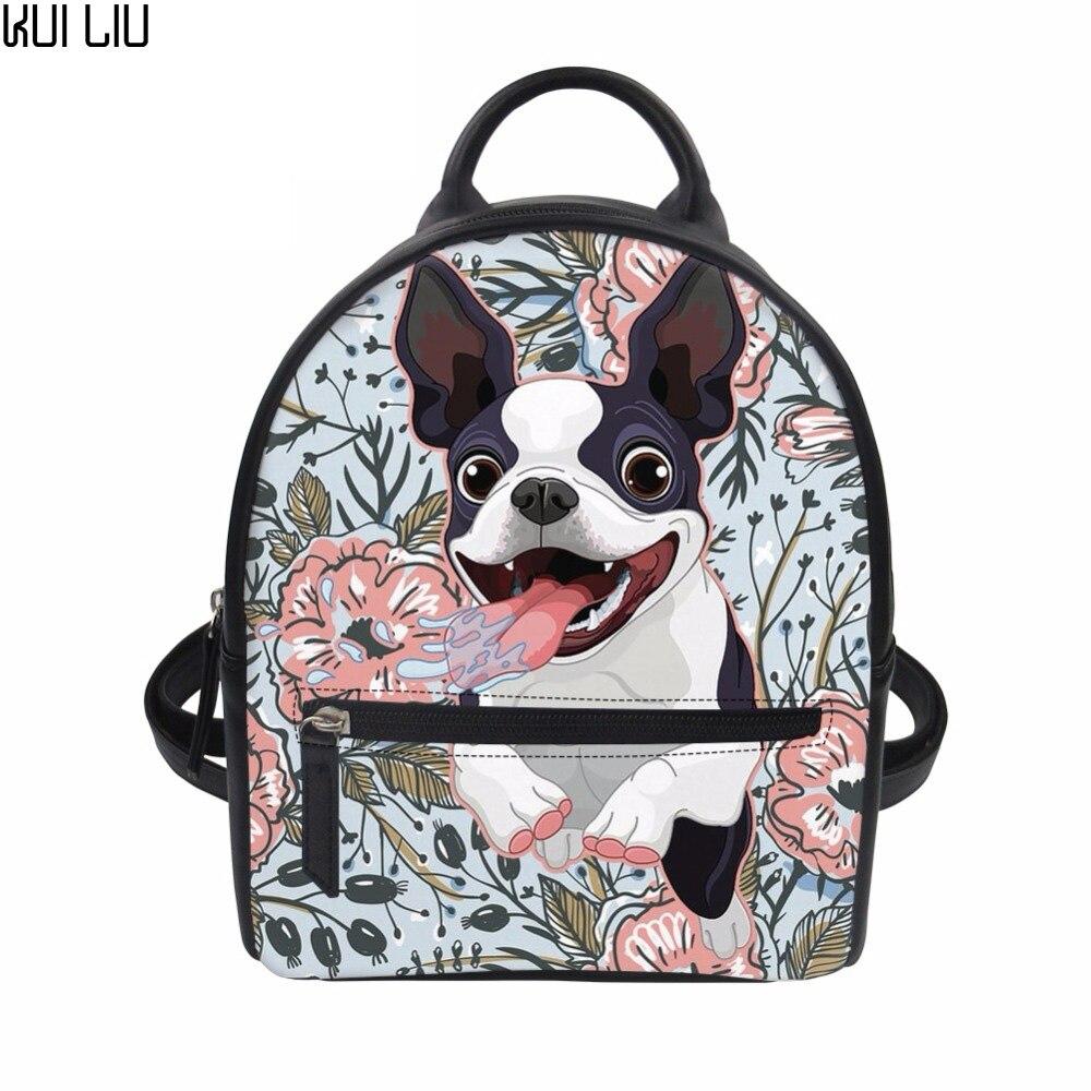 Couro do Plutônio Sac a dos Personalizado Boston Terrier Imprime Mochila Feminina 2021 Pequena Escola Mochilas Bolsas Meninas Feminino Voltar Pacote Sac a dos