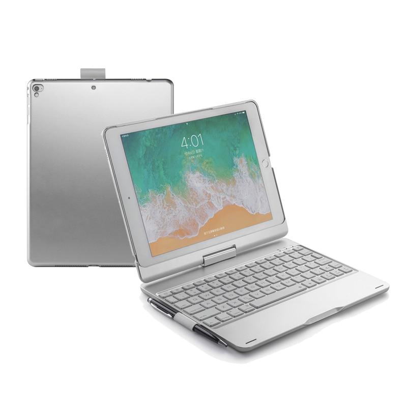 5,1 funda para teclado inalámbrico Bluetooth para nuevo iPad/iPad pro/Air2/Air1, 360 giratorio + 7 colores de retroiluminación + iPad portalápices