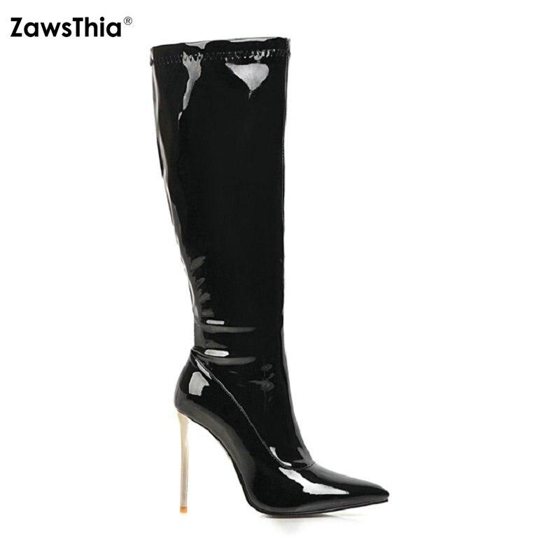 ZawsThia 2020 charol PU cuero 10cm super fino tacones altos mujer stilettos zapatos de fiesta rojo blanco negro rodilla-Botas de estiramiento alto