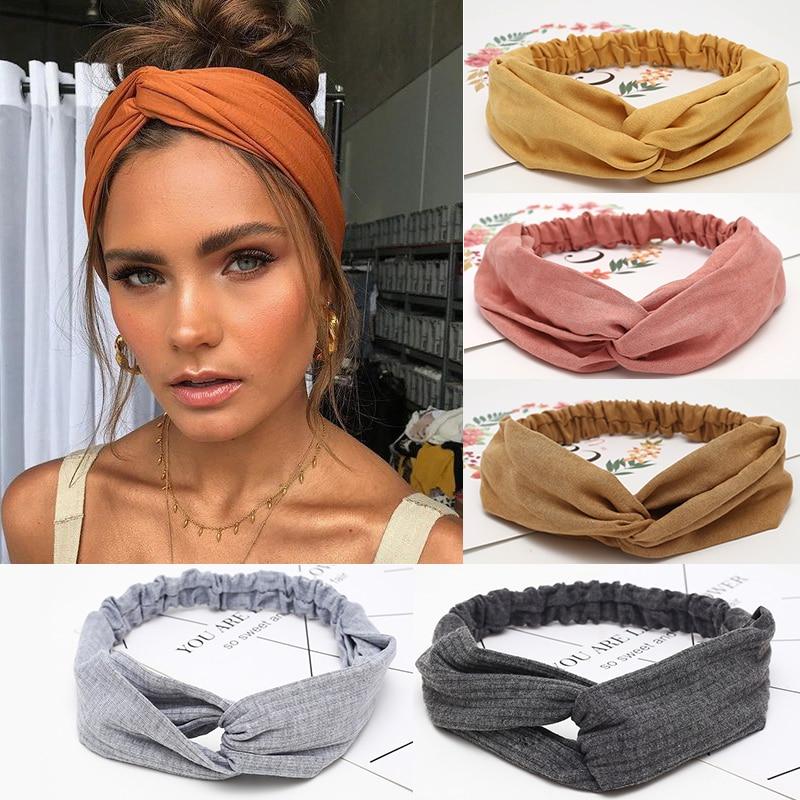Cross knot headband for women, elastic headbands, soft solid color headband for girl, hair accessori