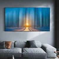 Peinture a lhuile de paysage  route de neige  foret dense  toile dart  salon  couloir  bureau  decoration murale de la maison