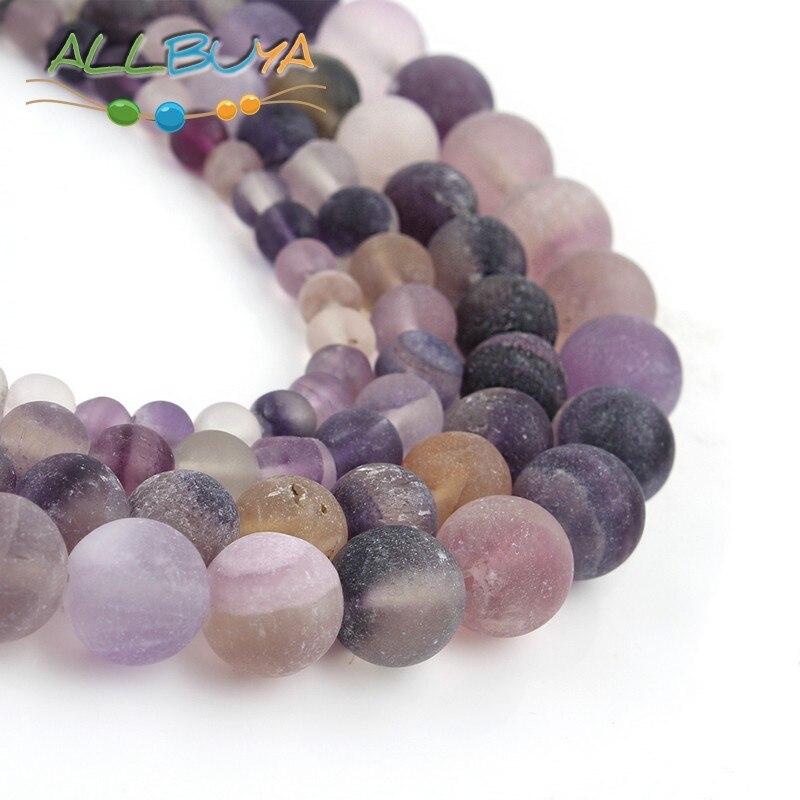 Natural piedras de minerales cuentas mate púrpura fluorita suelta perlas redondas para fabricación de joyería DIY accesorios de la pulsera de 8mm perlas de 6mm