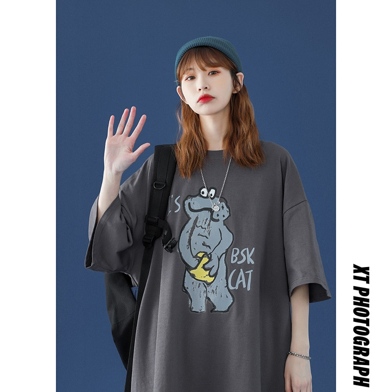 Teens 100% cotton t-shirt 2021 women plus size  tops  Harajuku Plus Size female fashion loose oversi