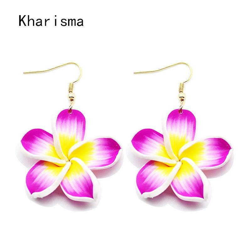 KHARISMA 2019 Trendy Purple Pink Plastic Flower Big Earrings For Women Personality Peach Blossom Fashion Jewelry Dangle Earrings