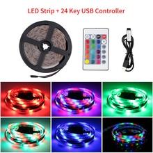 5V bande LED USB lumière TV rétro-éclairage RGB 2835 50cm 1 2 3 4 5 m lumière Led bande avec contrôle IR pour PC lampe ruban Diode ruban TV