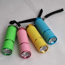 1PC Mini Lâmpada de Cura Gel Secador de Unha Portátil 9-LED Detector Moeda Lanterna LED Liga de Alumínio Mulheres Prego dom Lâmpada de secagem