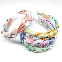 bohemian rainbow tie dye braided cross headbands for women girls gradual wide weaving hairbands bezel hair hoop hair accessories