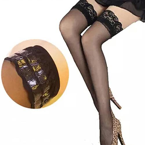 Sexy Women Mesh Sheer Lace Stay Up Thigh High Hold-ups Stockings Pantyhose Lace Floral See Through Exotic Apparel Socks Hosiery