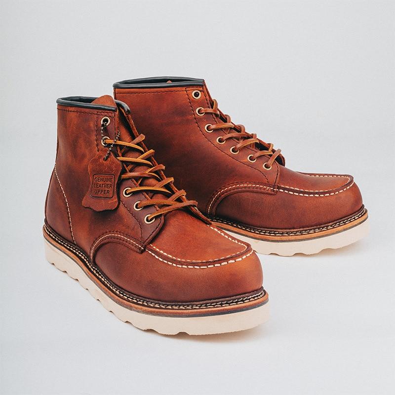 جديد 2021 الربيع أجنحة خمر الرجال أحذية منصة عادية اليدوية جوديير-Welted جلد البقر فستان حذاء من الجلد دراجة نارية الأحذية