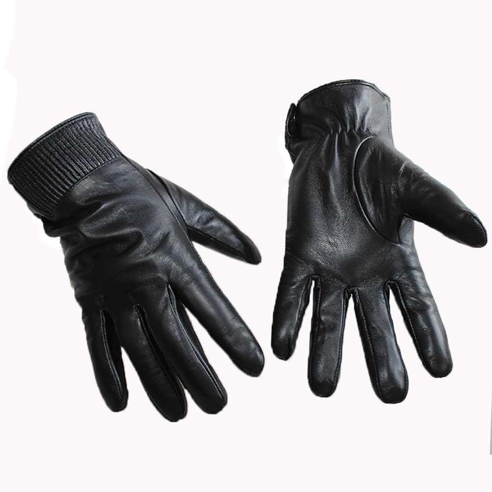 New Men's Touch Screen Leather Gloves Buttons Style High-Quality Sheepskin Velvet Lining Warm Black Gloves Autumn And Winter winter stylish genuine leather touch screen gloves woman winter sheepskin gloves velvet lining warm telefingers gloves mlz012