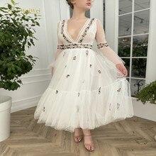 Sexy Deep V-Neck Prom Dresses Tea Length A-Line Long Flare Sleeve Backless Flower Waist Lace Appliqu