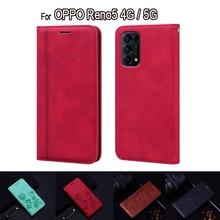 For OPPO Reno5 5G 4G Case CPH2159 Flip Leather Book Funda Cover For OPPO Reno 5 Case Phone Protectiv
