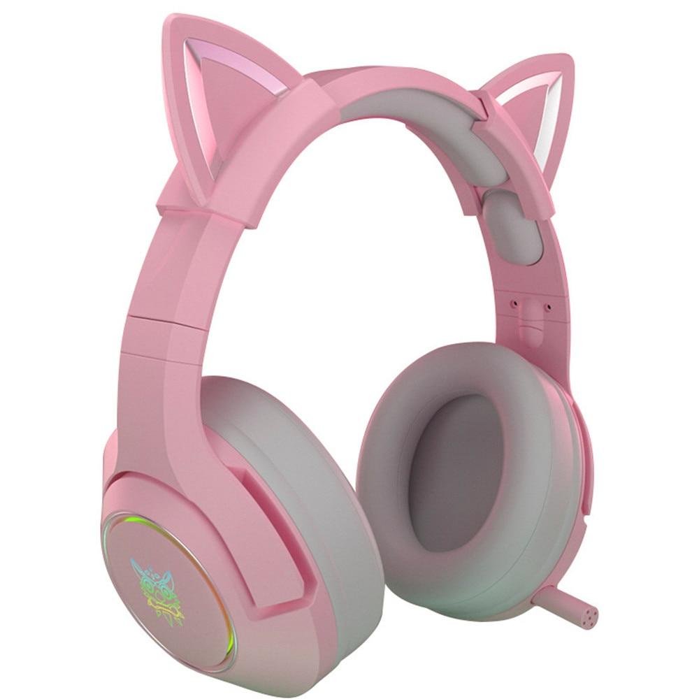 Fones de Ouvido Fone de Ouvido Estéreo de Som Ouvido com Fio Jogos com Microfone Nova Chegada Gato Orelha Jogos Rosa 7.1 Removível Led