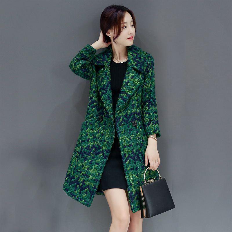 معطف وجاكيتات صوف نسائي للخريف والشتاء 2020 ، جيوب فضفاضة غير رسمية ، ملابس خارجية متوسطة طويلة من الصوف ، مقاسات كبيرة O725