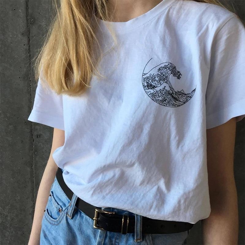 Sunfiz YF Hokusai La Gran Ola camiseta Grunge Tumblr Tee Harajuku Linda manga corta algodón camisetas verano 2019 moda camisetas