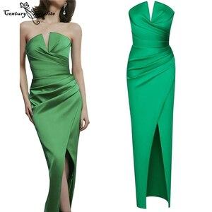 Green Mermaid Prom Dresses Long 2021 Strapless Zipper Back Simple Satin Formal Evening Dress Party Gowns Vestido De Fiesta Cheap