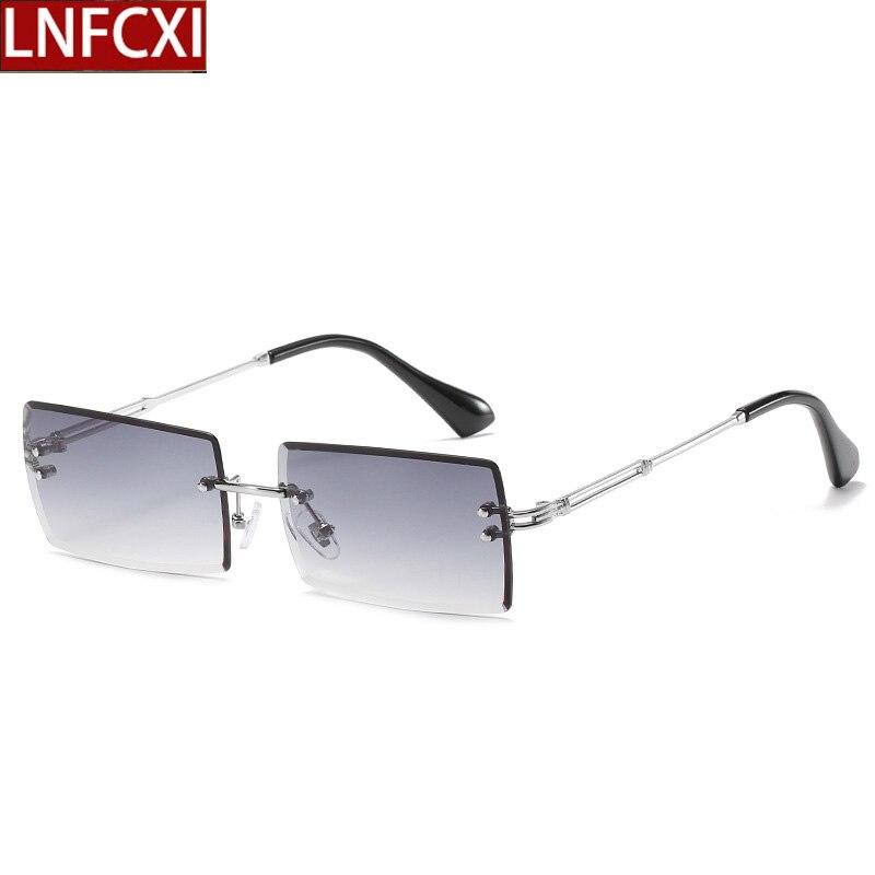 LNFCXI 16 Colors Rectangle Rimless Gradient Sunglasses Women Men Small Shades Fashion Sun Glasses fo