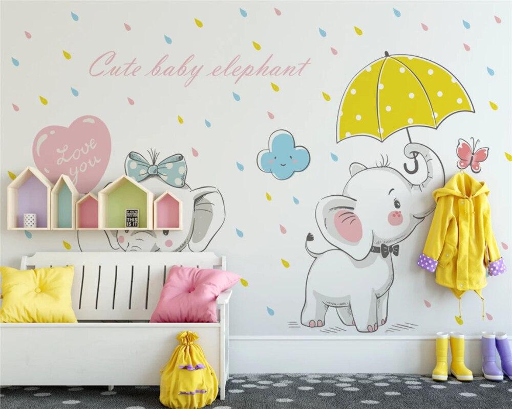 Beibehang personalizado moderno clásico pintado a mano elefante árbol y sol niños dormitorio Fondo papel pintado papeles tapiz decoración del hogar