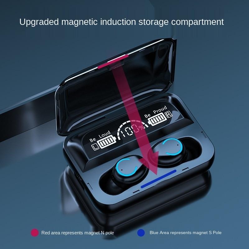 TWS Bluetooth Earphones Wireless Headphone Waterproof noise reduction HIFI smart touch auto pairing Magnetic charging phone F9 enlarge
