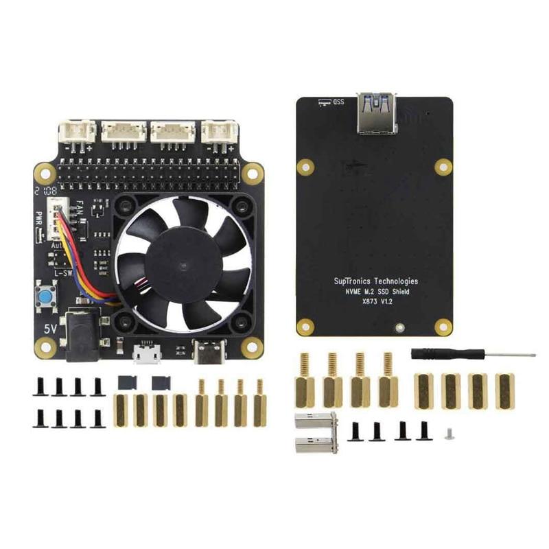 X873 V1.2 NVME M.2 SSD لوح تمديد + X735 V2.5 إدارة الطاقة و PWM لوحة مروحة التبريد لتوت العليق Pi 4B