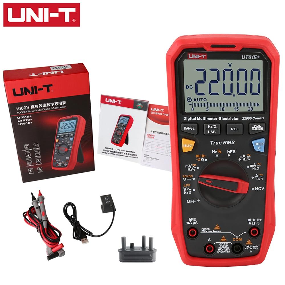 UNI-T 1000V صحيح RMS رقمي متعدد UT61E +/UT61D +/UT61B + ماكس/دقيقة/وضع النسبية NCV دبا ACV USB الاتصالات