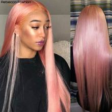 Rebecca Pink Wig Short Straight Lace Front Human Hair Wigs For Women Human Hair Peruvian Remy 4x4 Cl