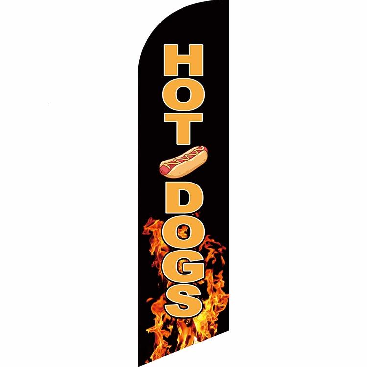 Custom Hot Dogs Banner Flag Advertising Flag Free Ship Knitted Polyester Banner Flag Single Sided Flag Digital Print Hot