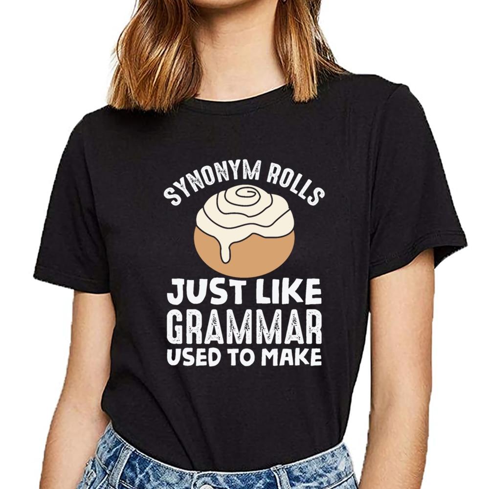 Camisa de t camisa feminina sinônimo rolls meme inglês gramática professor trocadilho sexy harajuku personalizado feminino tshirt