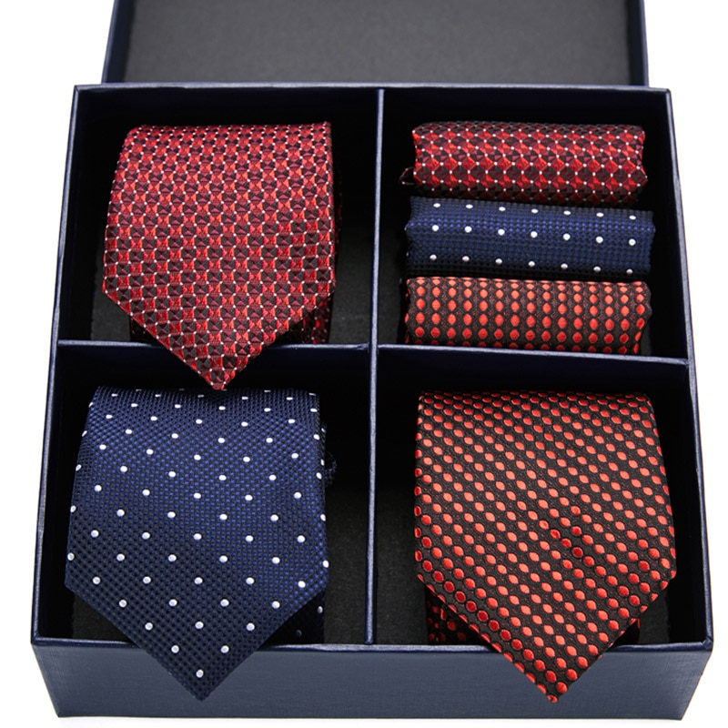 Classic 7.5 cm Ties for Man 100% Silk Tie Luxury Striped Plaid Business Necktie Handkerchief Set Cravat Wedding Party Neckties