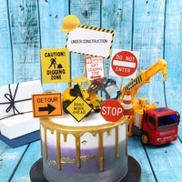 childrens construction vehicle excavator bulldozer sign cake topper kids birthday baby shower cake decorations suppliies