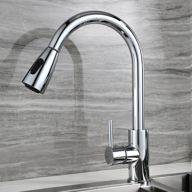 SIANCO Brushed Stainless Steel Chrome Black Kitchen Faucet Single Hole Pull Out Sprayer Head Mixer Tap Rotatable Sink Faucet sianco rotatable pull out sprayer hoisted chrome gold black brass kitchen faucet single hole mixer tap deck mounted sink faucet