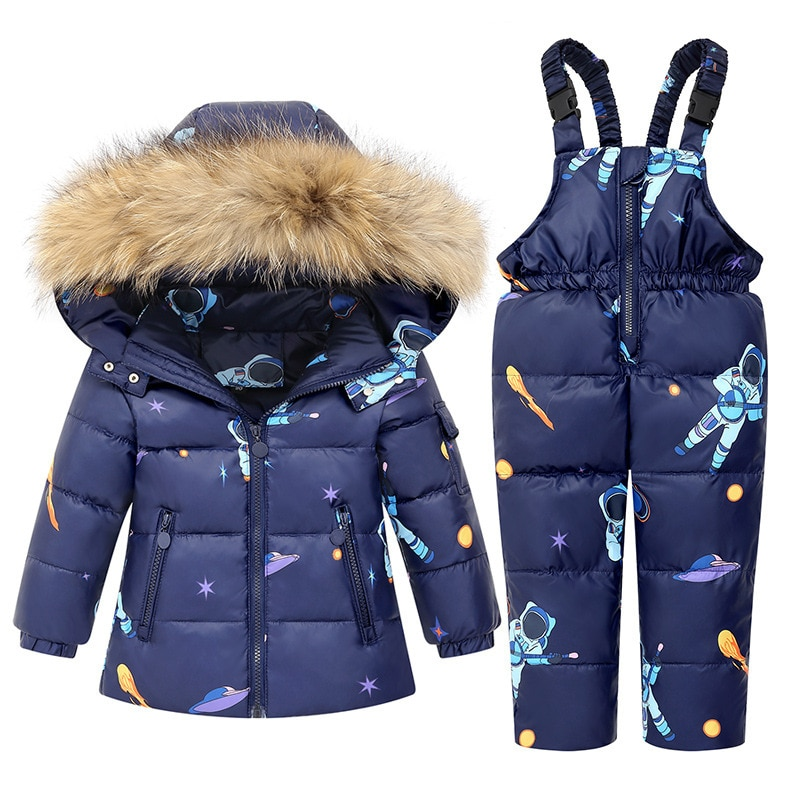 Children Down Coat Winter Warm Kids Jackets Thickened Girls Outfits Set Hooded Cartoon Boys Down Jackets 2-6Y Child Clothes Set enlarge