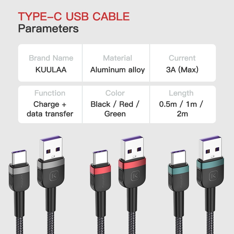 Купить с кэшбэком Kuulaa USB C Cable Type C 3A Fast Phone Charging Cable Data Cord Charger Cord For Samsung S10 Xiaomi Mi 10 Redmi Huawei P40 Pro