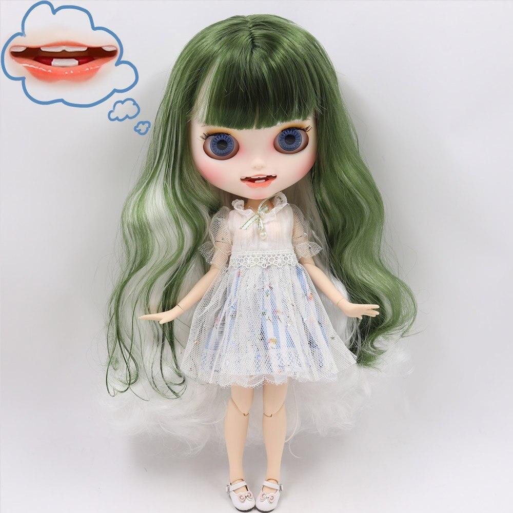 A boneca gelada de dbs blyth não bl4299/136 branco mistura cabelo verde esculpida lábios boca aberta matte personalizado rosto corpo comum 1/6 bjd